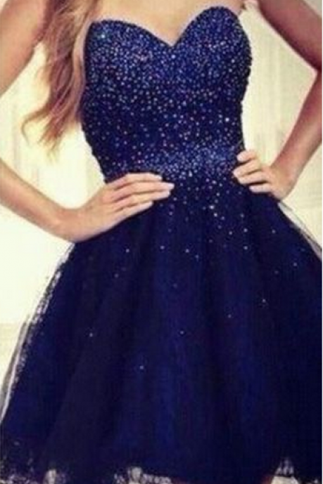 Strapless Beaded Homecoming Dress,Short Mini Homecoming Dresses