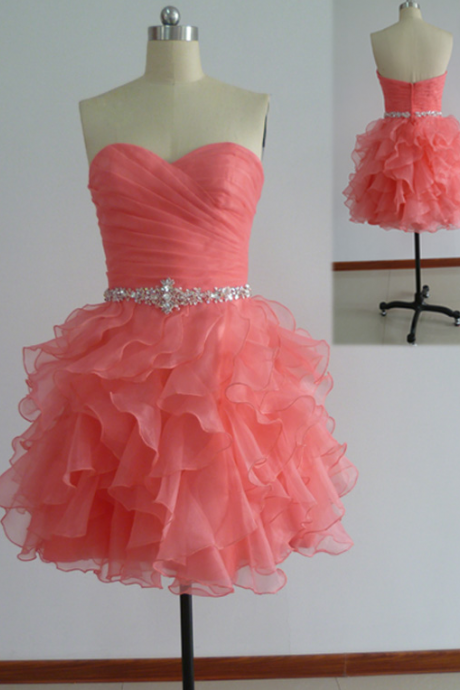 Sweetheart Neckline Organza Homecoming Dresses,Coral Homecoming Dresses Short,Homecoming Dresses