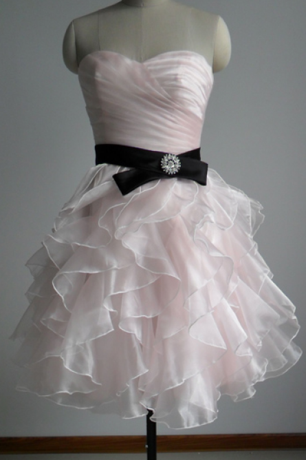 Organza Homecoming Dresses,A-line Sweetheart neckline Homecoming Dresses,Pink Homecoming Party Dresses,Mini