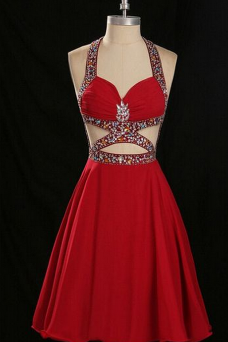 Homecoming Dress,Rhinestone Homecoming Dress,Open Back Homecoming Dress,Red Homecoming Dress,Sexy
