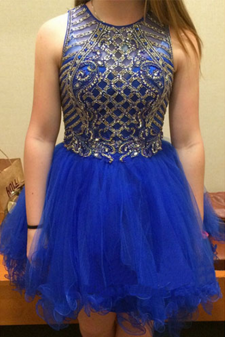 Handmade Homecoming Dresses,Navy Blue Homecoming Dress,Organza Homecoming Dresses,Rhinestone
