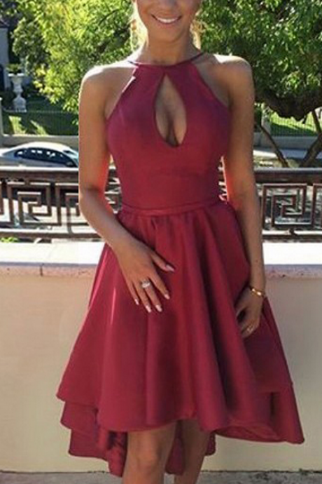 Casual Homecoming Dresses,A-line Homecoming Dress,Scoop Neck Homecoming Dresses,Satin Homecoming