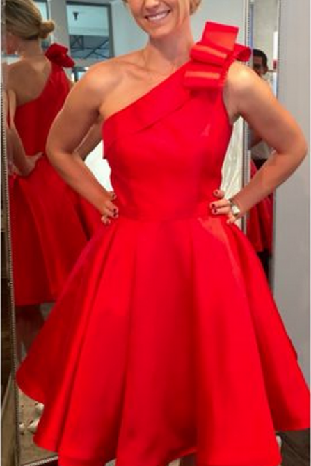 Red Homecoming Dresses,One Shoulder Homecoming Dresses,Satin Homecoming Dresses,Red Satin Homecoming