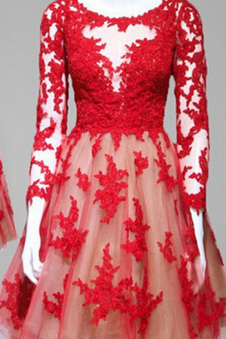 Elegant A-line Homecoming Dress,Long Sleeves Red Homecoming Dress, Lace Homecoming Dresses