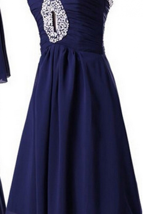 Latest A-line Homecoming Dress,Sleeveless Knee-length Chiffon Beading Homecoming Dress,Homecoming Dresses