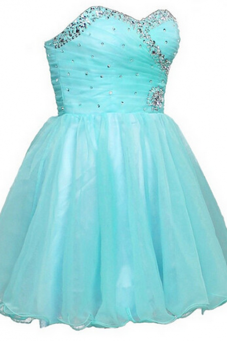 Sexy A-line Homecoming Dress, Mini Lace-up Organza Homecoming Dress,Blue Homecoming Dresses