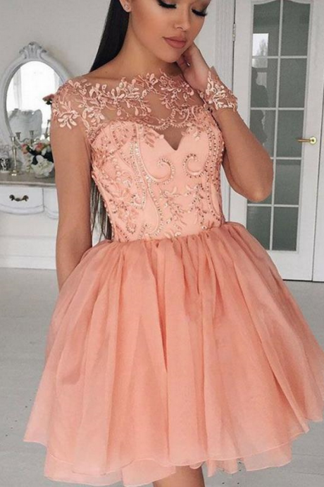 Pink Applique Chiffon Homecoming Dresses, Scoop Neck Homecoming Dress
