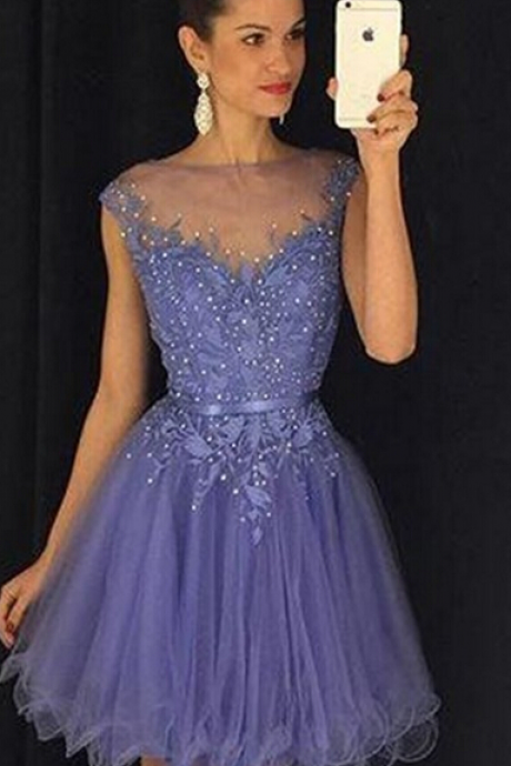 Lavender Tulle Homecoming Dress,Elegant A-Line Homecoming Dresses