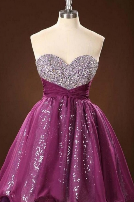 Sweetheart Beaded High Low Formal Handmade Homecoming Dresses K406