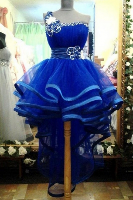 Pretty One Shoulder Royal Blue Tulle Handmade Homecoming Dresses K254