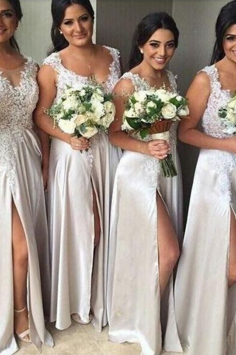 long bridesmaid dresses,white bridesmaid dresses ,lace bridesmaid dresses,a line bridesmaid dresses,cheap