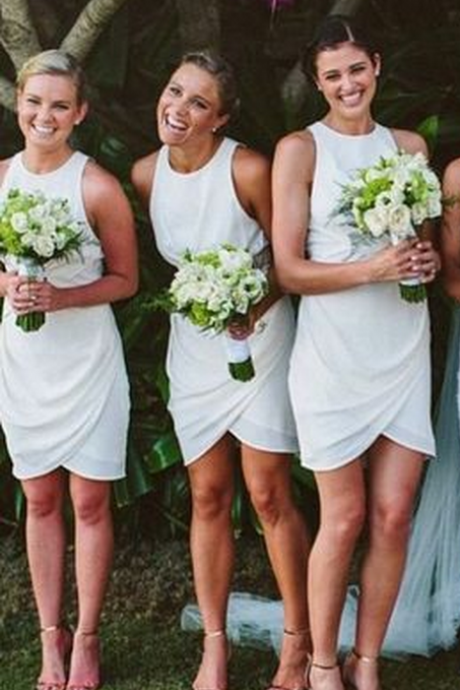 Short bridesmaid dresses, white bridesmaid dresses, discount bridesmaid dresses, cheap
