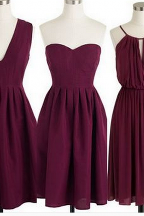 Burgundy Bridesmaid Dresses,Short Bridesmaid Gown,Summer Bridesmaid Gowns,Beach