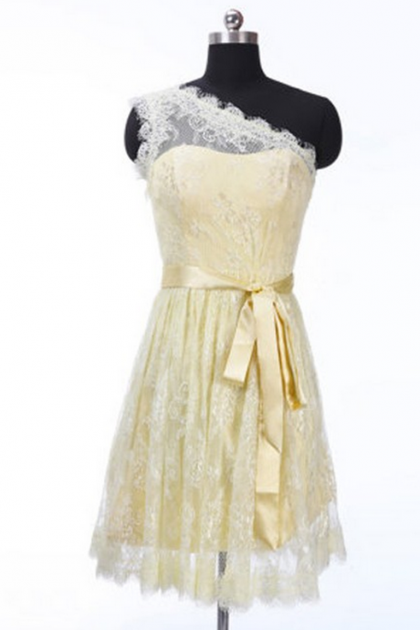 Customisable Yellow One-Shoulder Neckline A-Line Lace Knee Length Junior Homecoming Dress, Bridesmaid Dress