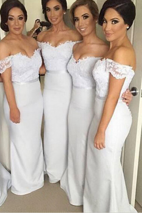 Bridesmaid Dresses,Long Bridesmaid Gown,Off the Shoulder Bridesmaid Gowns,Mermaid Bridesmaid Dresses,White Bridesmaid Gowns, Bridesmaid