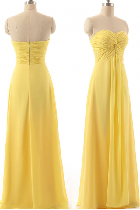 Yellow Sweetheart Bridesmaid Dresses, Flowing Chiffon Gown for Bridesmaid, Floor-length