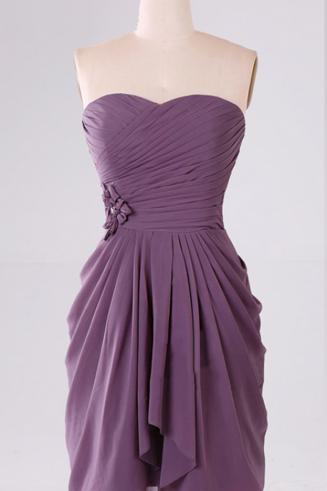 Sweetheart Bridesmaid Dress with Ruching Detail, Mini Chiffon Bridesmaid Dresses, Discount