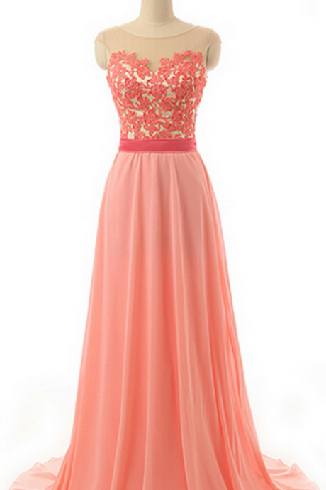 Sleeveless Illusion Bridesmaid Dress with Lace Appliques, Watermelon Chiffon Bridesmaid
