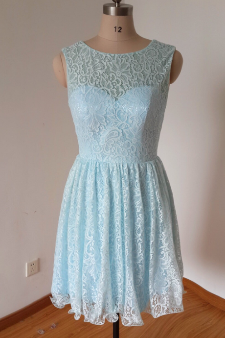 Blue Lace Bridesmaid Dress, Short Bridesmaid Dresses, Cheap Bridesmaid Dress, Junior