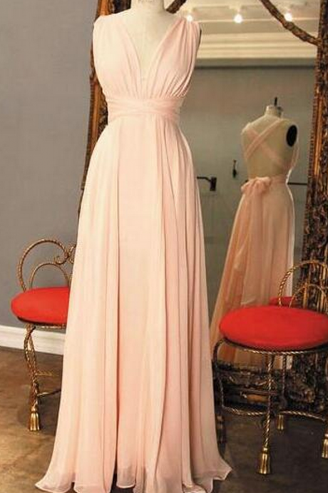 Pink Backless Bridesmaid Dress, Long Bridesmaid Dress, Chiffon Bridesmaid Dress, Cheap Bridesmaid Dress,