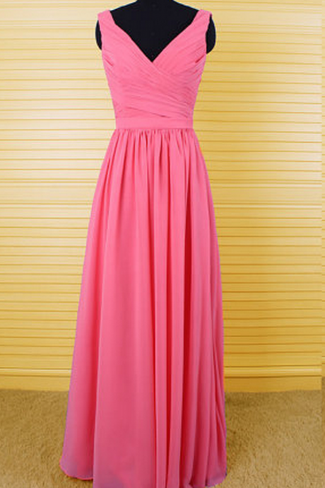 Pink V-Neckline Ruched Chiffon Floor Length Prom Dress, Bridesmaid Dress