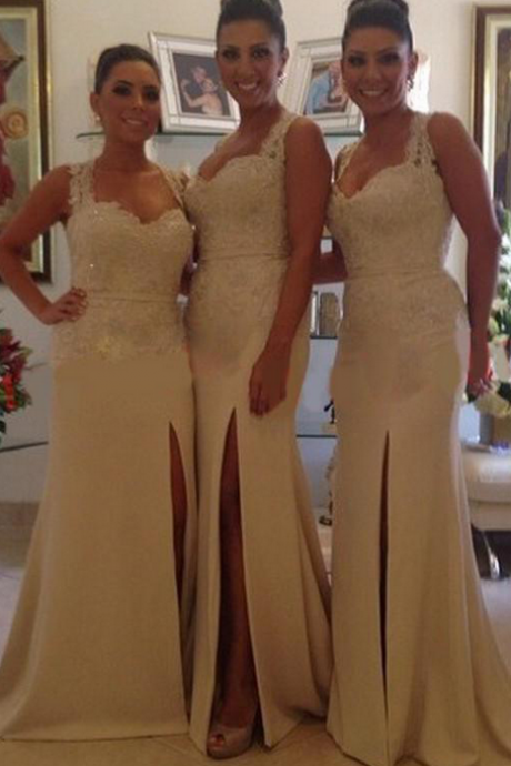 bridesmaid dress, long bridesmaid dress, light gray bridesmaid dress, lace bridesmaid dress, cheap bridesmaid