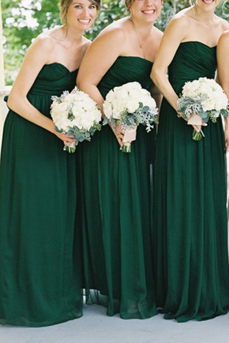 Strapless Sweetheart Ruched A-line Floor-Length Chiffon Bridesmaid Dress