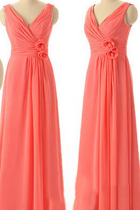 Watermelon Bridesmaid Dresses with Soft Pleats, Long Chiffon Bridesmaid Dresses, Affordable V-neck Bridesmaid