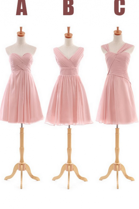 Blush pink bridesmaid dresses, cheap bridesmaid dresses, chiffon bridesmaid dresses, short bridesmaid dress, custom