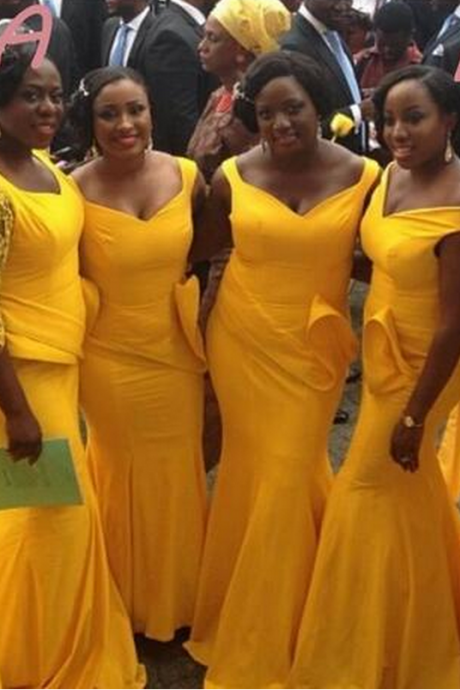 Plus Size Bright Yellow Maid Of Honor Dresses