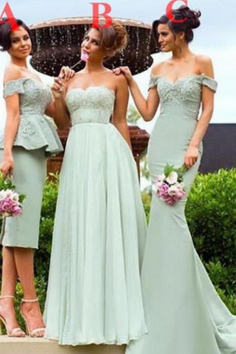 Sage Bridesmaid Dresses,Sweetheart Bridesmaid Dress,Different Style Bridesmaids Dresses,Long Prom