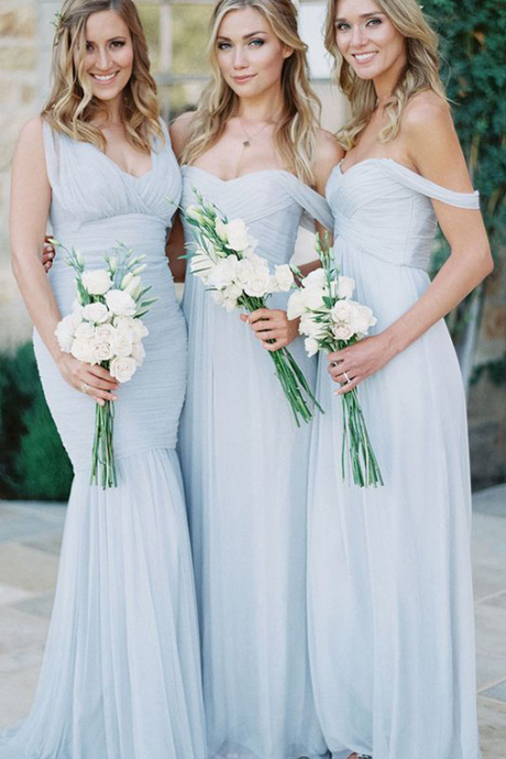 Bridesmaid Dresses Long,Bridesmaid Dresses ,Bridesmaid Dresses,Custom Bridesmaid Dresses,A-Line Sweetheart Light Blue Chiffon Long Bridesmaid Dress