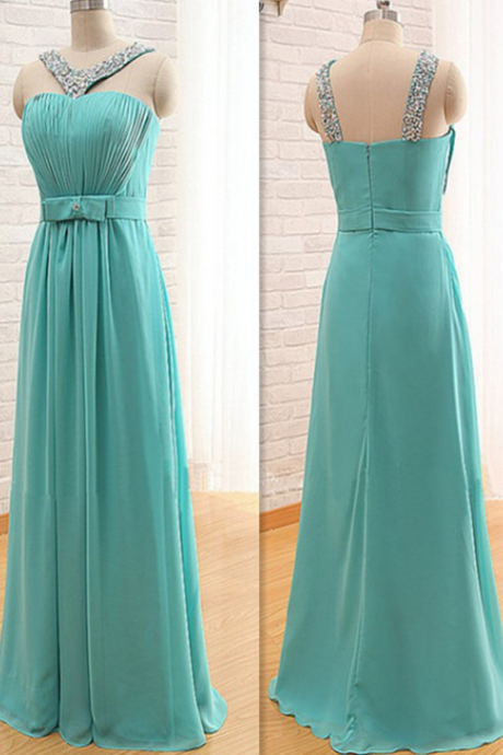 Shoulders chiffon bridesmaid dresses, halter Qi bridesmaid dresses, hand-beaded prom dress, bridesmaid dress custom prom