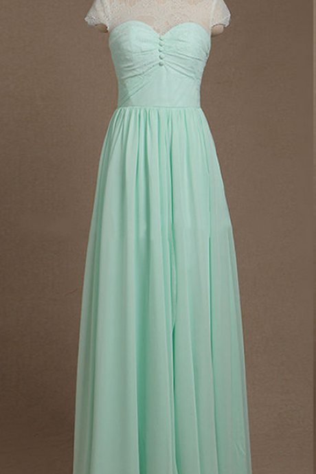 Beautiful Illusion Bridesmaid Dresses, Short Sleeve Chiffon Bridesmaid Dresses, Mint Green Long Bridesmaid Dress,