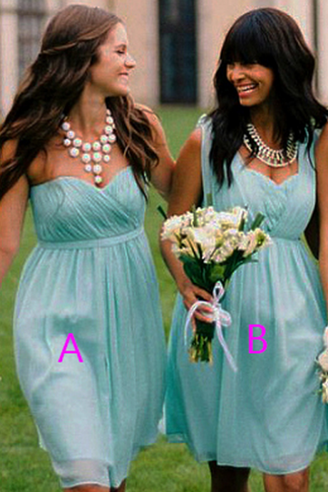 Trendy Convertible Bridesmaid Dresses, Popular Sky Blue Sweetheart Bridesmaid Dresses, Short Chiffon One-shoulder Bridesmaid Dress,