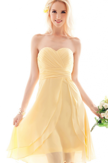 Bridesmaid Dress,Chiffon Bridesmaid Dresses Yellow,Simple Bridesmaid Dresses
