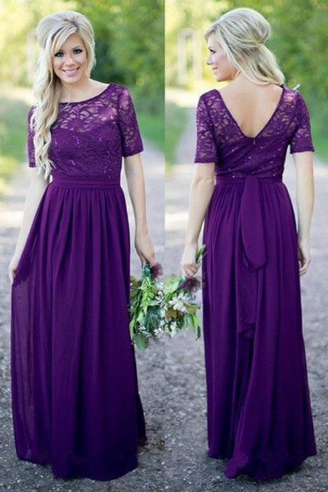 Bridesmaid Dresses,Short Sleeves Bridesmaid Dresses,Pirple Chiffon Bridesmaid Dresses,Bridesmaid Dresses