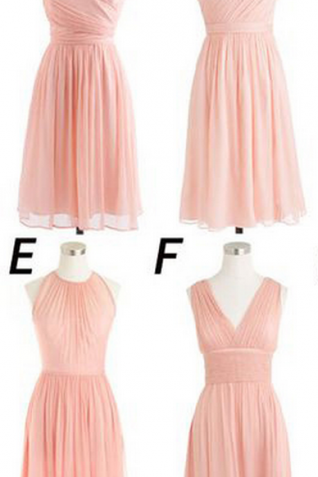 Mismatched Bridesmaid Dresses,Soft Pink Short Cheap Bridesmaid Dress