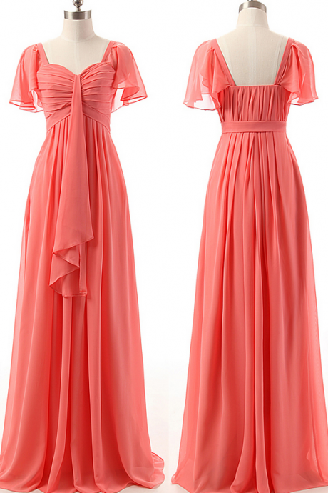 A-line Bridesmaid Dresses with Ruffles, Sweetheart Watermelon Bridesmaid Gowns, Chiffon Short Sleeve Bridesmaid Dress,