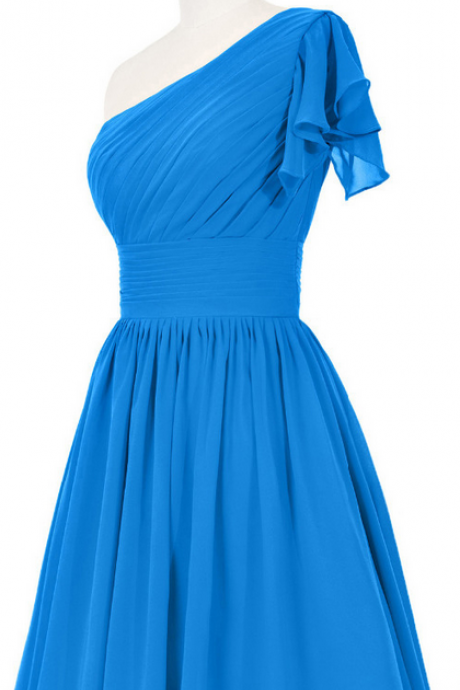 One shoulder Bridesmaid Dress with Ruffles, Short Gowns for Bridesmaid, Asymmetric Blue Bridesmaid Dress