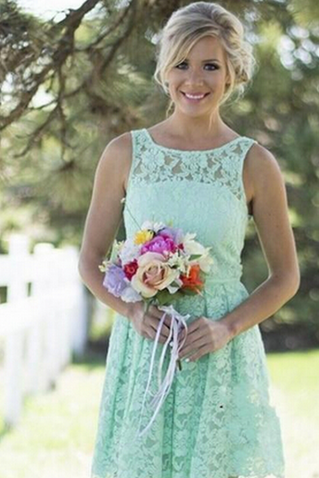 New Short Mint Green Bridesmaid Dresses