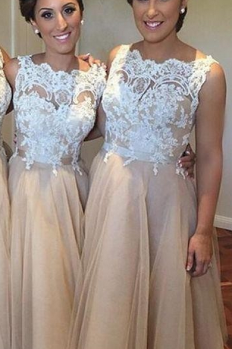 Champagne bateau neck ankle length lace bridesmaid dresses wedding party dresses