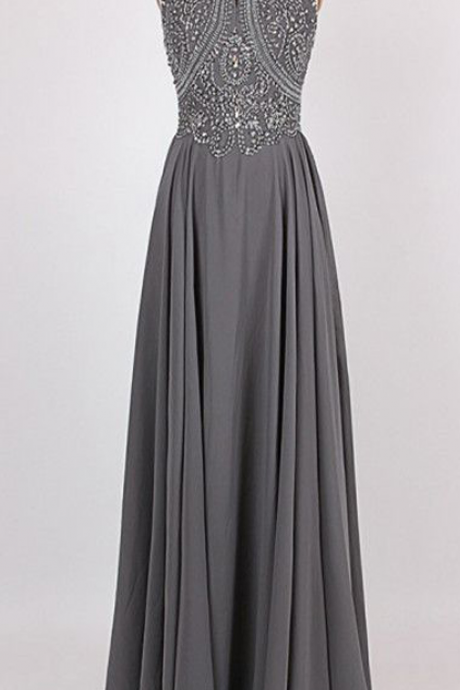 Long Bridesmaid Dress, Chiffon Bridesmaid Dress, beading Bridesmaid Dress,