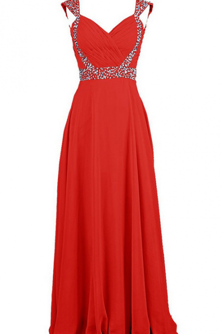 Sleeveless Beaded Ruched Chiffon A-line Floor-Length Prom Dress, Evening Dress, Bridesmaid Dress