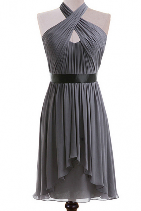 Gray Halter Bridesmaid Dress with a Ribbon, Knee-length Chiffon Bridesmaid Dresses