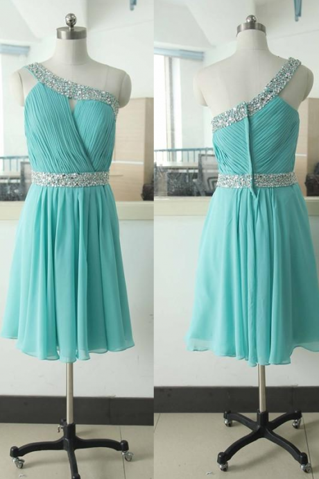 Blue Bridesmaid Dress,One Shoulder Bridesmaid Dresses, Beautiful Wedding Party Dresses