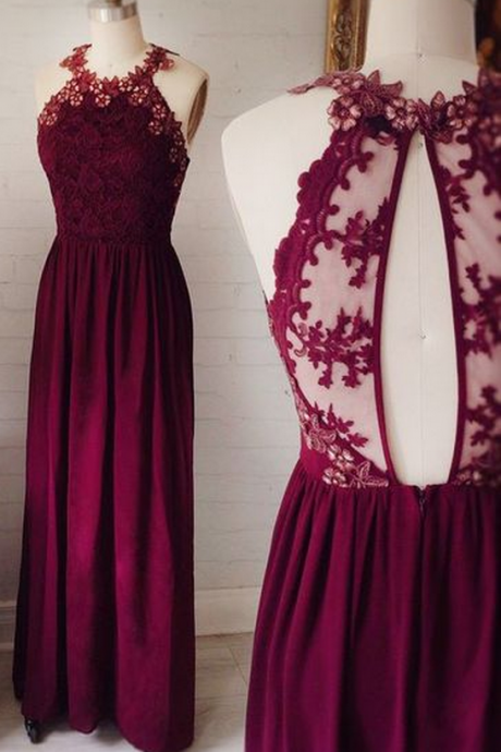 Burgundy Bridesmaid Dress,Keyhole Back Lace Bridesmaid Gown,