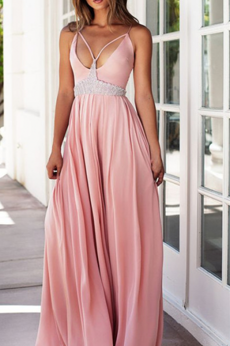 Pink V-neck chiffon Bridesmaid dresses Bridesmaid dress
