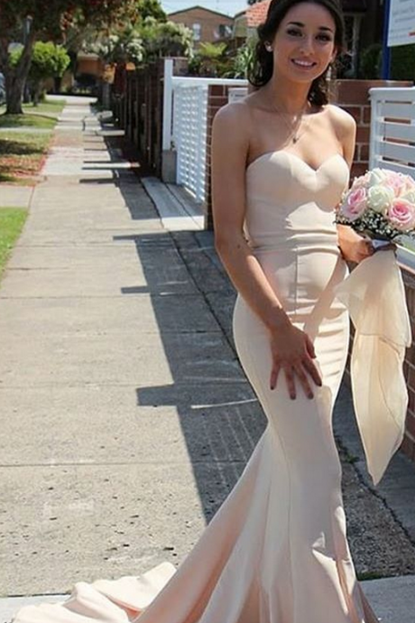 Simple Mermaid Sweetheart Sweep Train Satin Bridesmaid Dress