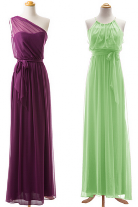 Elegant Chiffon Cheap Long Mismatched Bridesmaid Dresses Wedding Party Dresses